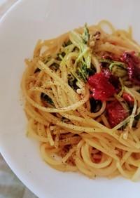 水菜と梅のパスタ