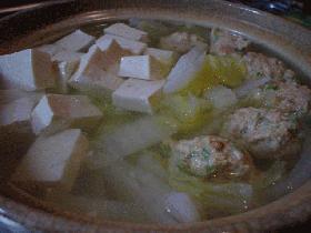 ピリカラつくね入り湯豆腐
