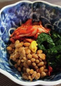 モロヘイヤ入りキムチ納豆