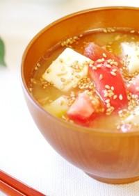 トマトと豆腐の冷やしみそ汁