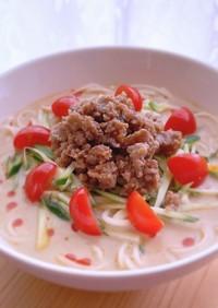 素麺で冷やし坦々麺風
