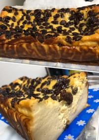 水切ヨーグルト☆ラムレーズンチーズケーキ