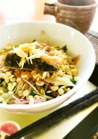さばのみぞれ煮と納豆のぼっかけ素麺