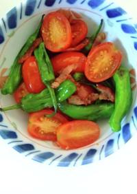 獅子唐とミニトマトのガーリック炒め