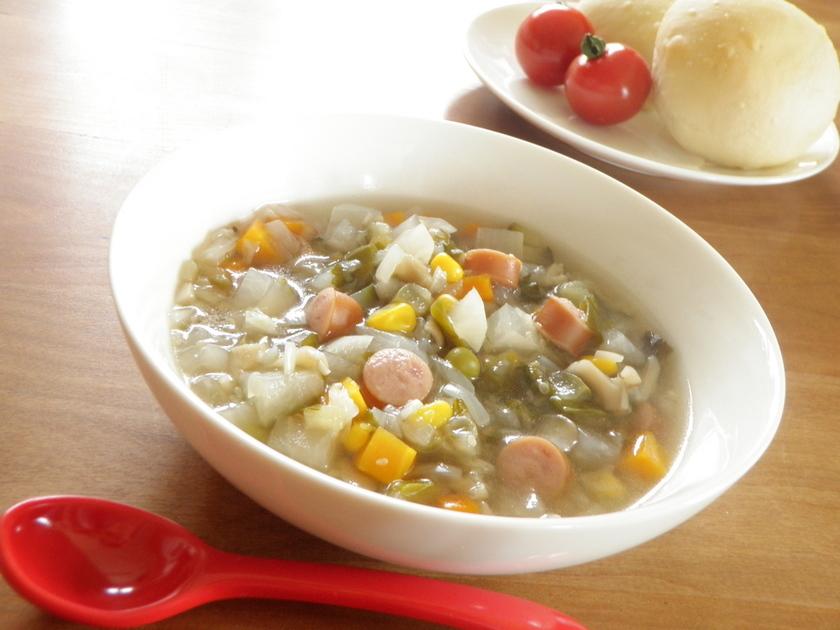 だしの素でΦ和風野菜スープ