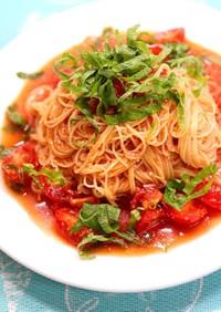 大葉とトマトの冷製パスタ