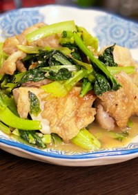 鶏肉と小松菜のレモンナンプラー炒め