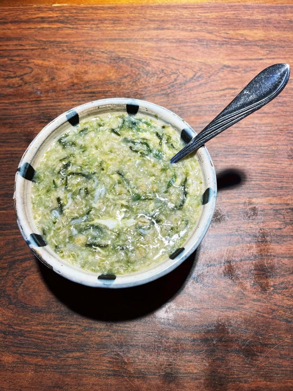 大葉&卵&刻み海苔で和風オートミール粥