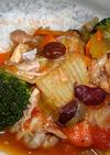 骨付き鶏肉のトマト煮込み