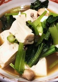 煮魚の煮汁で豆腐の煮物