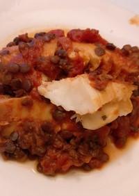 簡単 白身魚 レンズ豆 トマト煮
