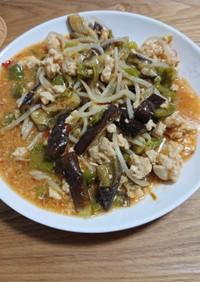 夏野菜と麻婆茄子。レンジ調理。