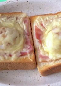 簡単温泉卵ベーコンチーズトースト