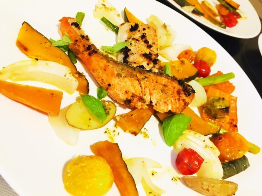 グリルパンで楽ちん!鮭と野菜のグリル