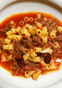 マカロニとトマト、牛肉と豆の煮込み