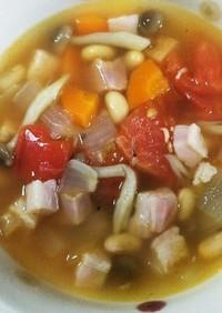 朝のスープ 其の4 大豆と野菜とベーコン