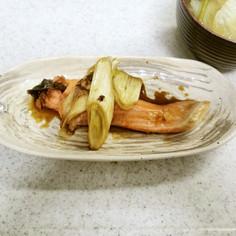 ✨鮭とネギの甘醤油&ほうれん草の味噌汁✨