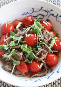 簡単旨い!牛コマとミニトマトのすき煮