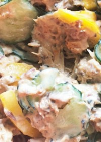 サバの味噌煮缶を使った簡単和え物