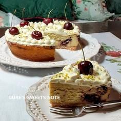 ピスタチオとチェリーのチーズケーキ