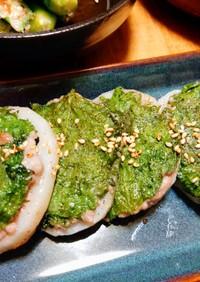 レンコンと挽肉と大葉の適当焼き