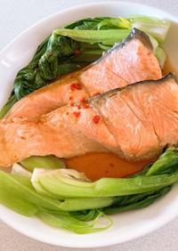 レンジで簡単!鮭とチンゲン菜の香味だれ