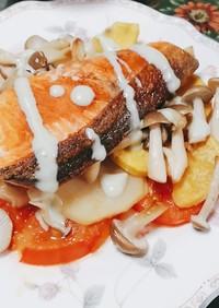 鮭と野菜のソテーバジルソース