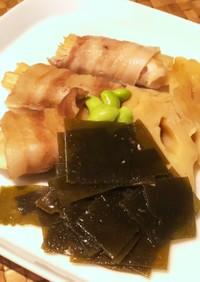 豚バラちくわぶ巻きと昆布のすき煮