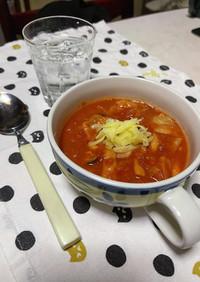 トマト缶で作るキャベツとシメジのスープ