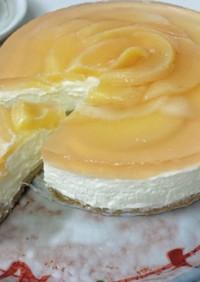 桃とゼリーのレアチーズタルト