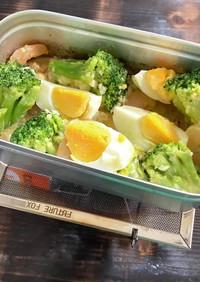 メスティンでエビとブロッコリーの卵サラダ
