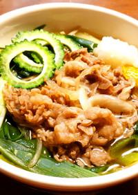 牛肉と九条ネギの温かい蕎麦 発酵玉葱