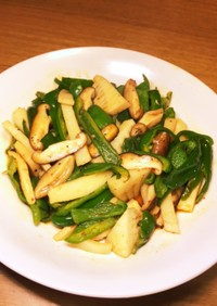 竹の子ピーマン椎茸のピリ辛炒め