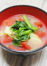 空心菜と新じゃがとトマトのお味噌汁