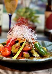 夏野菜のピリ辛桃屋サラダ♪ૢ