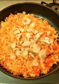 フライパン一つ!トマトとタラの炊込みご飯