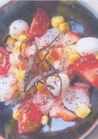 イチゴとタコのカルパッチョ 揚げ昆布添え