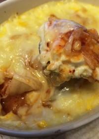 キムチと豆腐と卵のグラタン