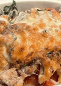 トマトと鶏肉のバジル(or大葉)チーズ焼