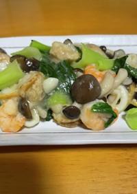 青梗菜とシーフードミックスの中華風炒め