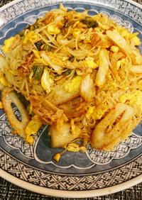 卵とちくわの素麺キムチチャンプルー