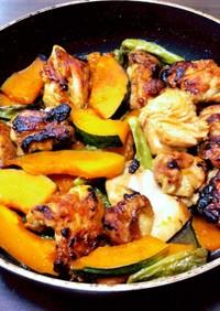 夏野菜と鳥もも肉の甘辛焼き