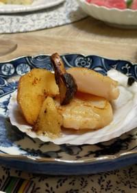 簡単☆ホタテと桃と松茸のバターソテー