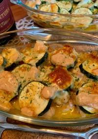 パスタソースで鶏肉ズッキーニのチーズ焼き