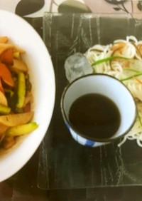 ピリ辛炒め野菜と彩りそうめん
