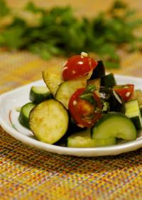 水茄子とトマトときゅうりのサラダ