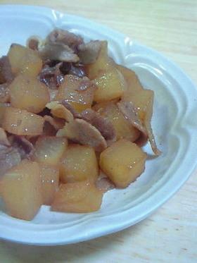 コロコロ大根と豚バラ肉の炒り煮
