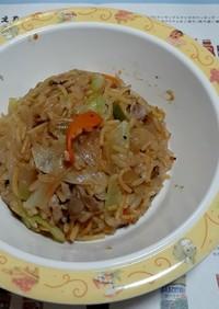 糖質0麺の蕎麦飯チャーハン。