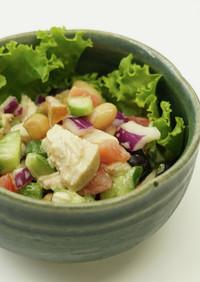 サラダチキンと野菜のカラフルサラダ