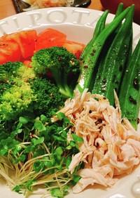 バルサミコドレッシングで食べるサラダ